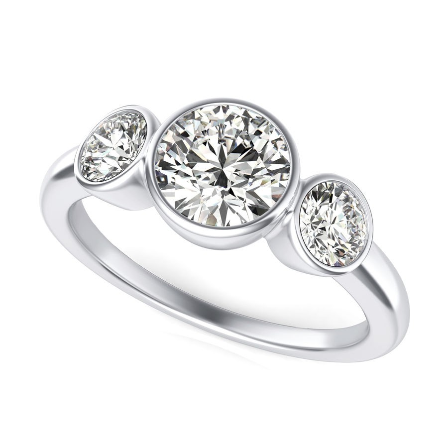 Bezel Three Stone Engagement Ring