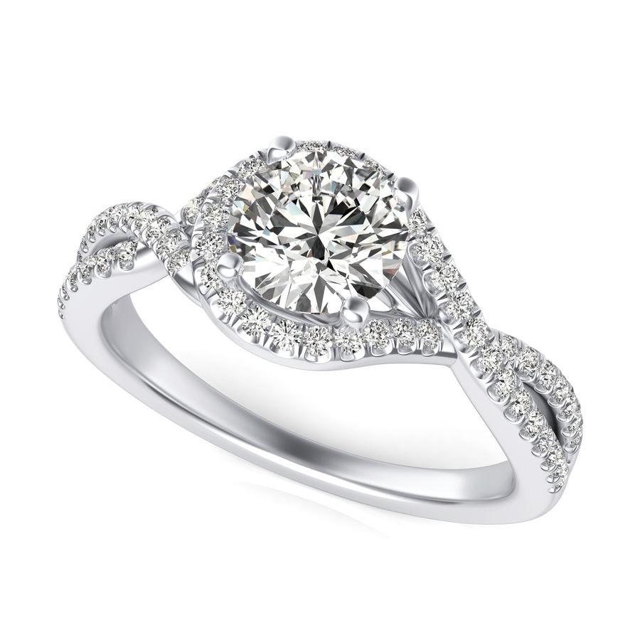 Twist Halo Engagement Ring