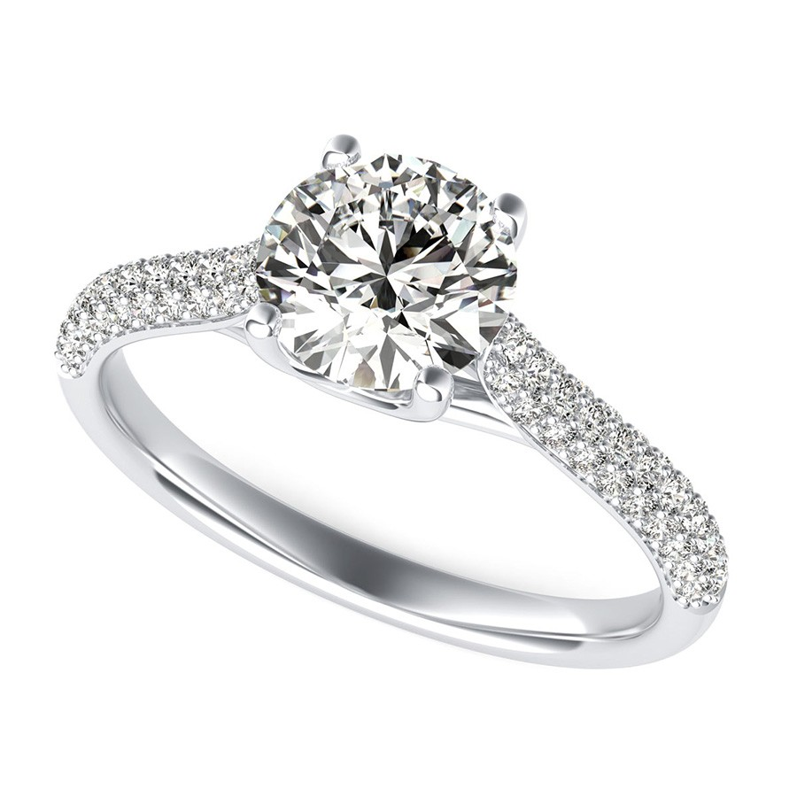 Trellis Cathedral Micro-Pave Half Eternity Engagement Ring