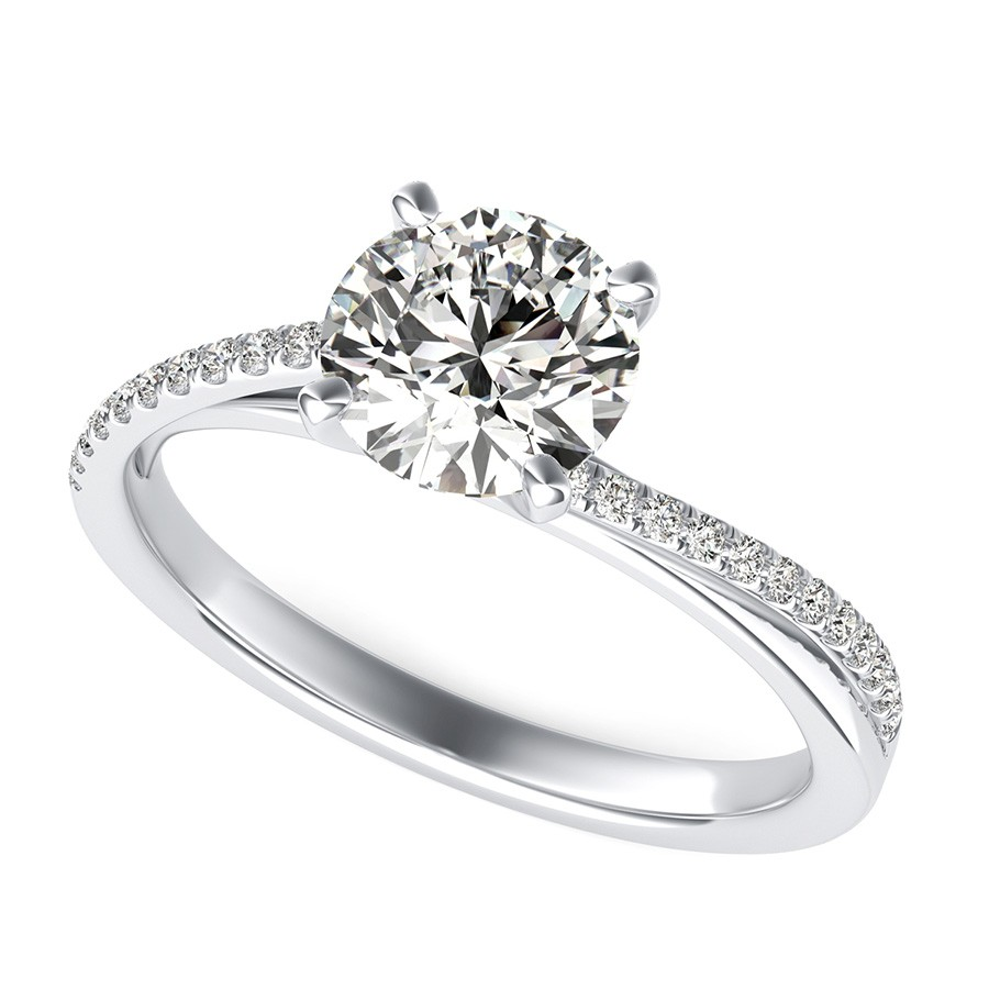 Cathedral Twist Engagement Ring With Side Stones