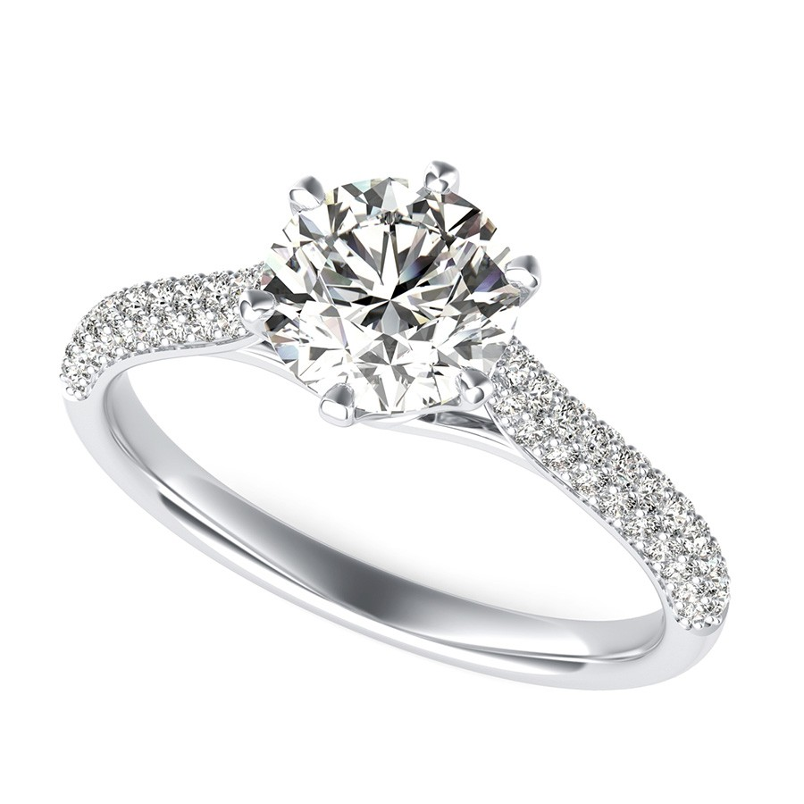 Victoria Royal Cathedral Micro-Pave Half Eternity Engagement Ring