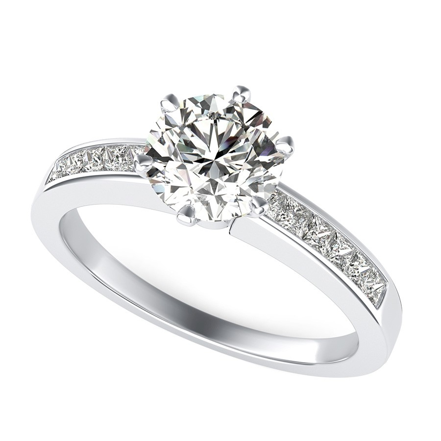 Victoria Royal Engagement Ring With Channel Set Side Stones
