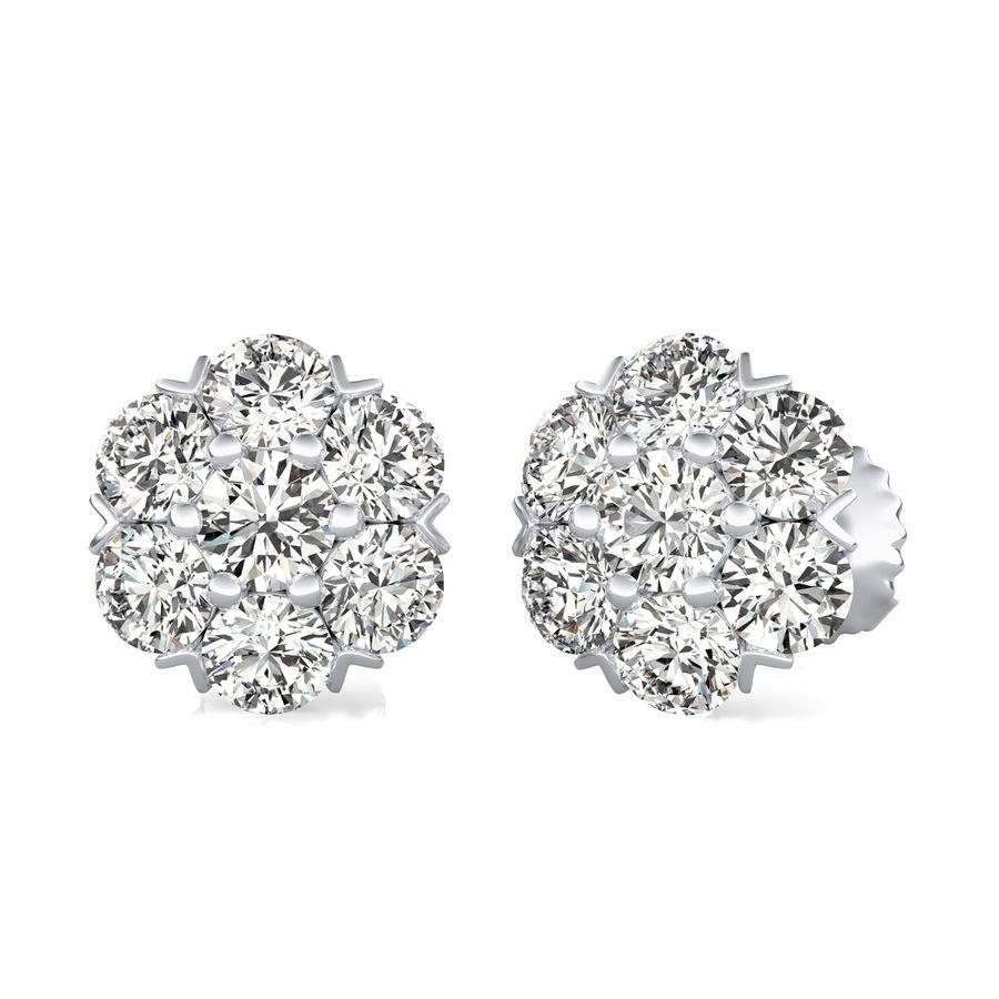 1.75 Ct. T.W. Cluster Stud Earrings