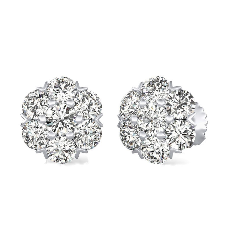 2.50 Ct. T.W. Cluster Stud Earrings