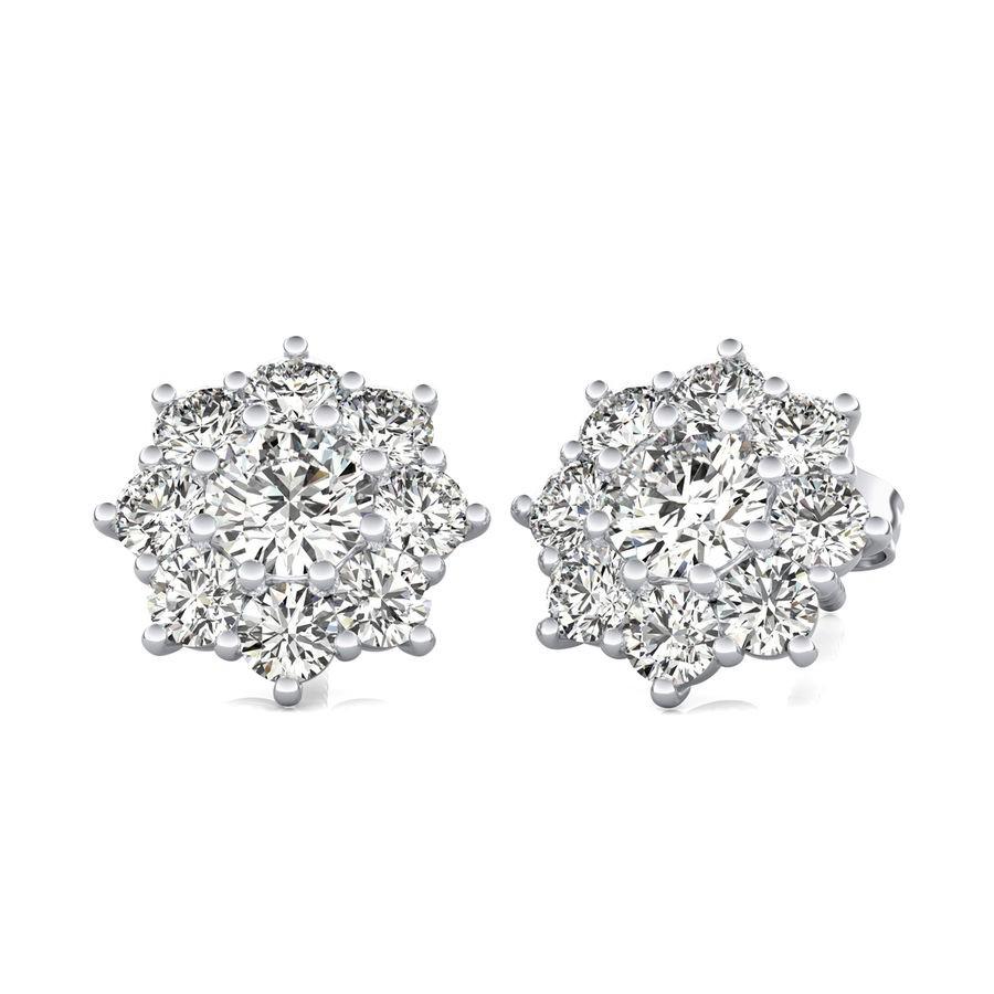 Halo Stud Earrings With Big Side Stone