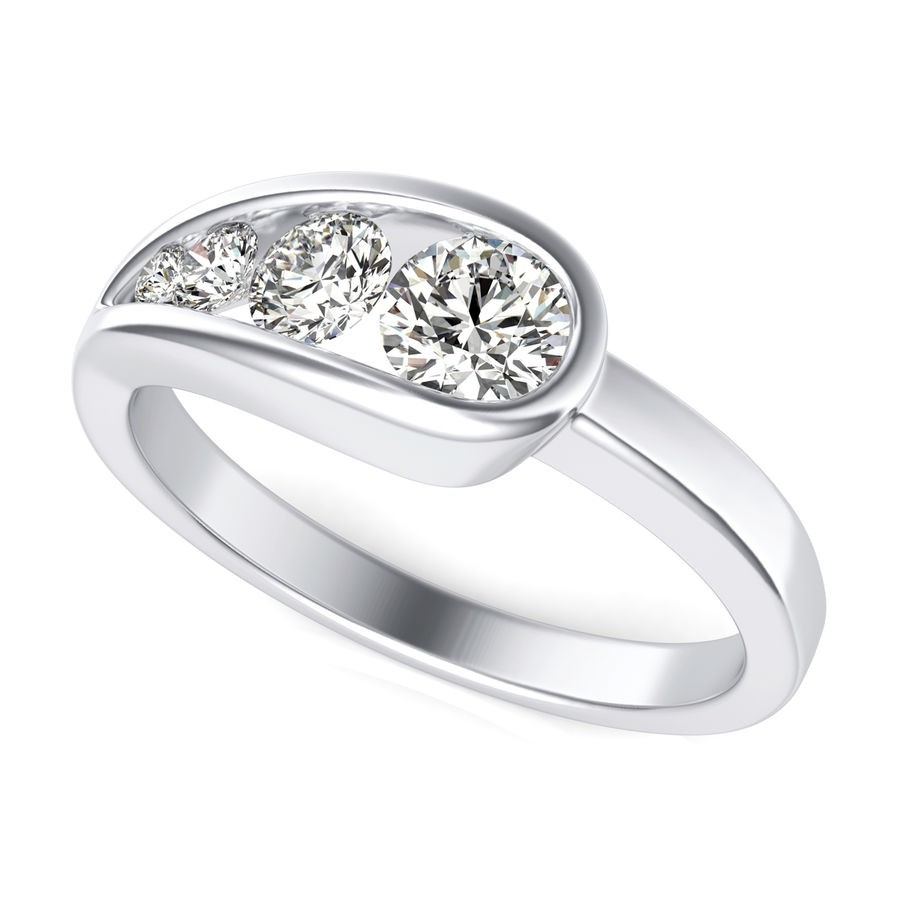 Bezel Set Three Stone Fashion Ring