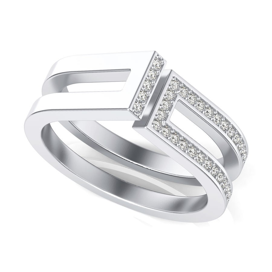 Single Bar with Side Stones Fashion Ring
