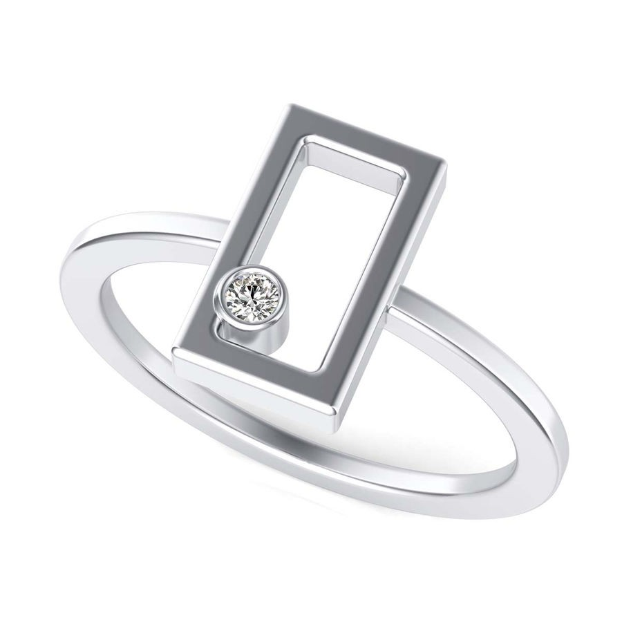 Rectangle with Diamond Fashion Ring