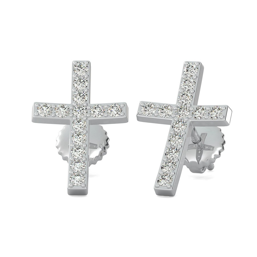 Cross Earrings With Pave Set Stones