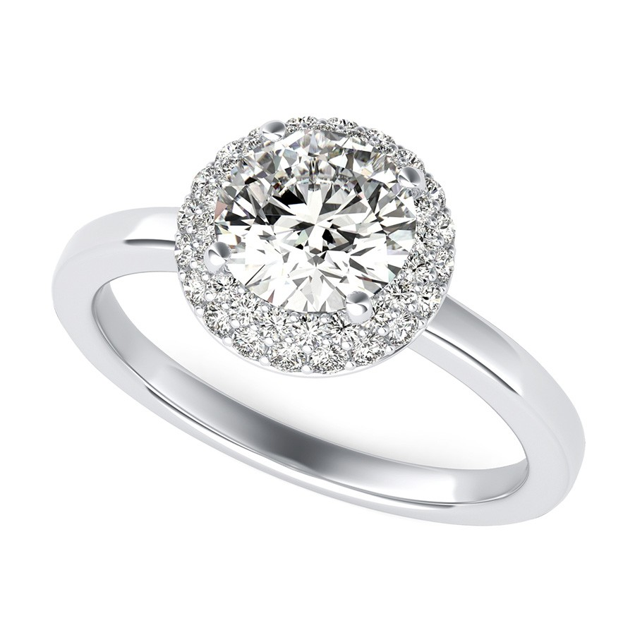 Micro Pave Halo Engagement Ring With Plain Band