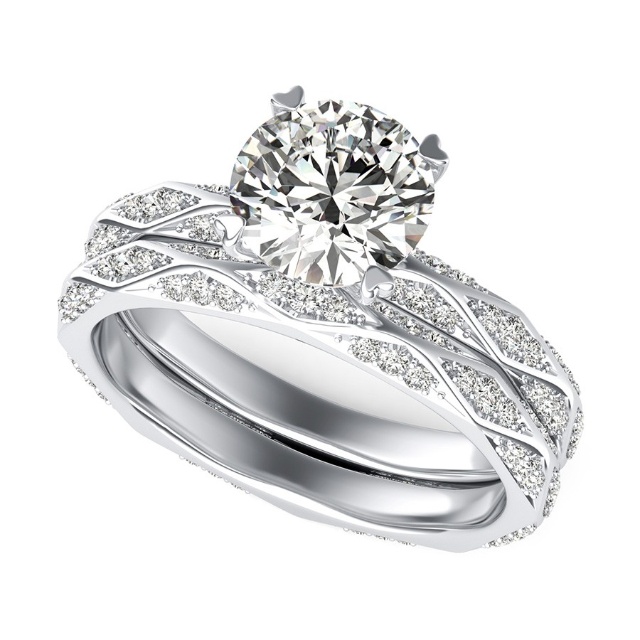 Alexis Pave Eternity Engagement Ring With Matching Wedding Band
