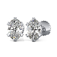 Stud Earrings With Heart Shaped Prong Setting