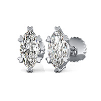 Solitaire Stud Earrings With Heart Shaped Prong