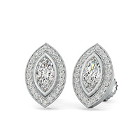 Bezel Set Halo Earrings With Milgrain