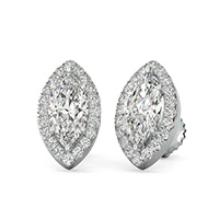 Halo Earrings Pave Set Side Stones