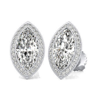 Halo Stud Earrings With Milgrain