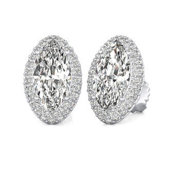 Micro Pave Halo Stud Earrings