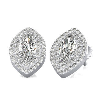Two Row Pave Halo Stud Earrings