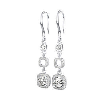 Square Halo Lever Back Earrings