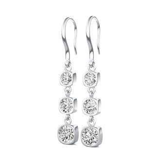 Three Stone Lever Back Earrings