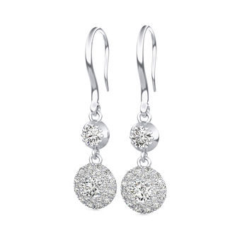 Micro Pave Dangle Halo Earrings