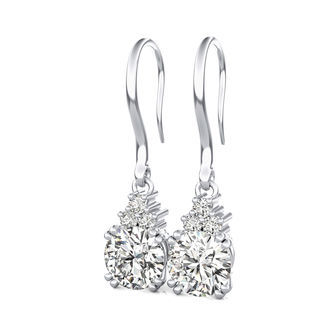 Leverback Solitaire Earrings With Three Stones