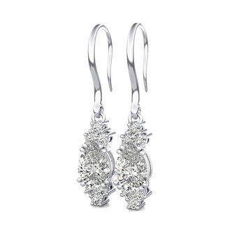 Leverback Solitaire Earrings With Side Stones