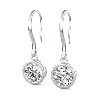 Dropped Bezel Solitaire Earrings