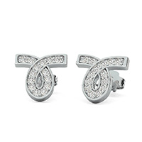 Single Ribbon Earrings With Pave Set Stones