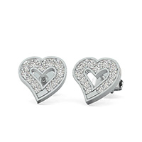 Open Heart Earrings With Pave Set Stones