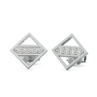 Open Diamond Shaped Earrings With Stones