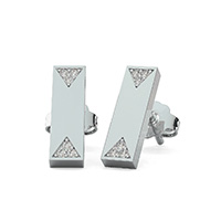 Bar Earrings With Triangle Shaped Pave Set Stones