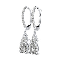 Double Prong Accented Drop Earrings