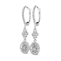 Accented Halo Drop Earrings
