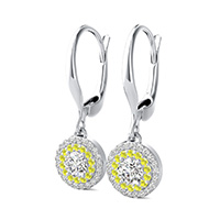 Double Row Halo Drop Earrings