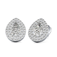 Double Row Pave Halo Earrings