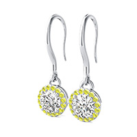 Pave Set Halo Dangle Earrings