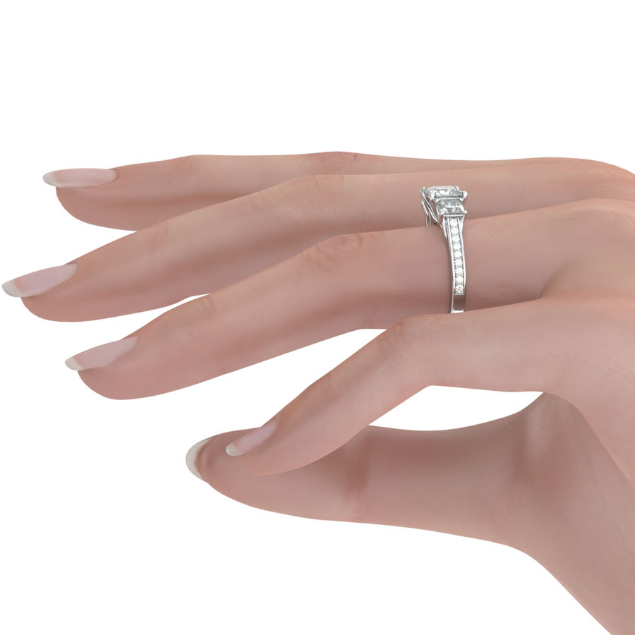 Three Stone Halo Engagement Ring - Edwin Novel Jewelry Design