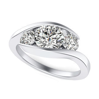 Tension Three Stone Engagement Ring