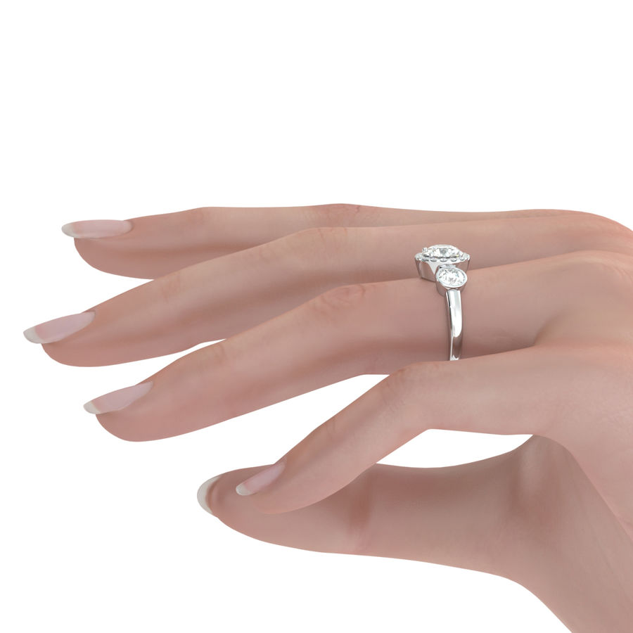 Three Stone Halo Engagement Ring - Edwin Novel Jewelry Design