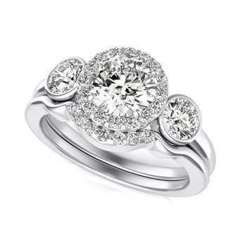 Three Stone Halo Engagement Ring With Matching Band