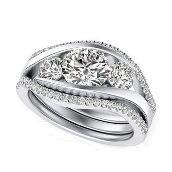 Three Stone Engagement Ring With Matching Band