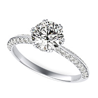 Knife Edge Engagement Ring With Stones On The Prong