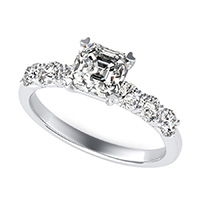 Engagement Ring With Side Stones Set In U Shape Prongs