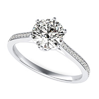 Flower Prong  Cathedral Engagement Ring