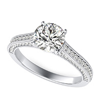 Cathedral Engagement Ring With Milgrain