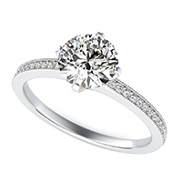 Classic Engagement Ring With Milgrain Pave Side Stones