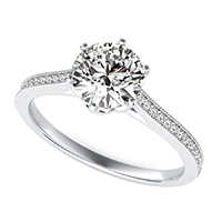 Flower Prong  Cathedral Engagement Ring With Milgrain