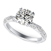 Alexis Eternity Engagement Ring With Milgrain