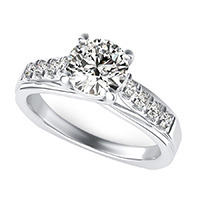 Amore Trellis Square Shank Engagement Ring With Side Stones